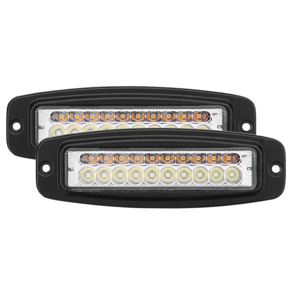 2x 7 inch dual-color 100w led work light bar flush mount flood driving fog lamp