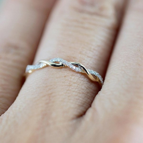 Flawless Twisted Shape Rings For Women Engagement Ring Stacking Matching Band Anniversary Ring Set Rhinestone Jewelries Bijoux
