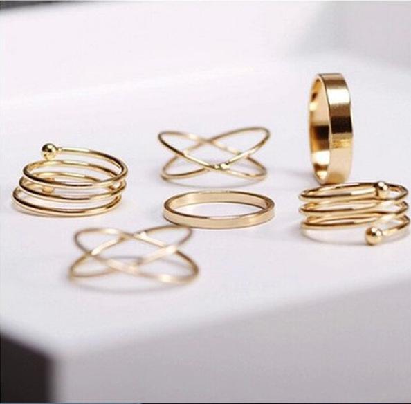 Hot Unique Ring Set Punk Knuckle Rings per le donne Anello di barretta 6 PCS Set Set di vendita