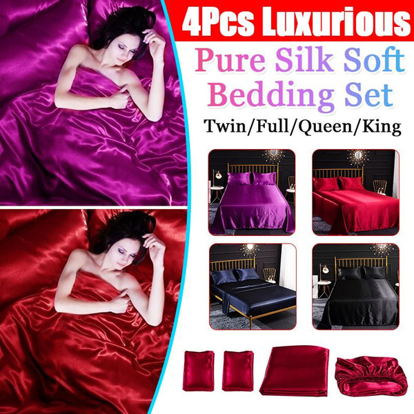 Luxury Pink Mulberry Silk Satin Bedding Set Super Cal King