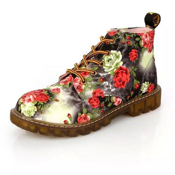 Botas Mulheres Casuais Botas Impressas Floral Atado Macio Sole Tornozelo Moda Lace Up Sapatos de Plataforma Sapatilha (38, azul)