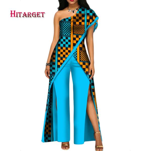 2018 nuevo otoño Conjunto de pantalón africano para mujeres sexy fuera del hombro Mono dashiki ropa batik cera impresión de algodón puro WY2373