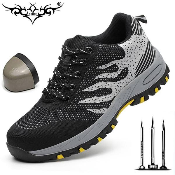 Nuove scarpe di sicurezza lavoro traspirante maglia donna uomo sneaker luce indistruttibile in acciaio punta morbida stivali da lavoro piercing plus size
