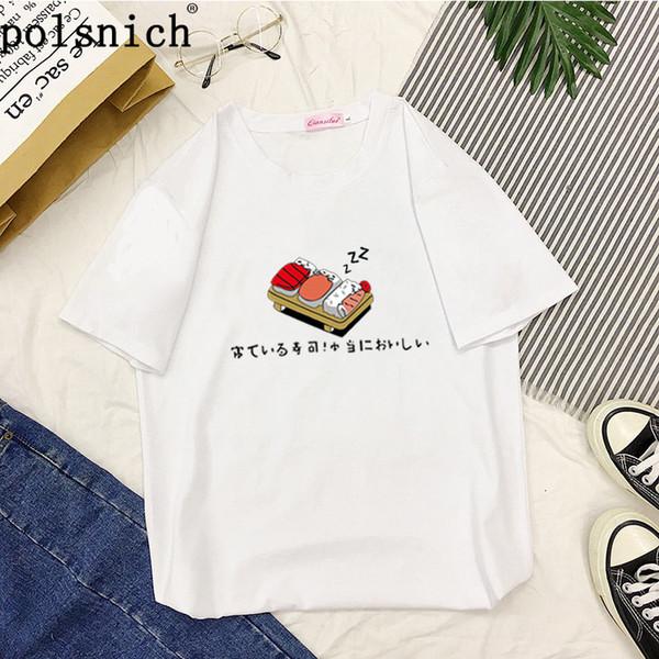 Mulheres t-shirt 2019 Outono Inverno Camisolas t-shirt Dos Desenhos Animados Kawaii Sushi Japonês Impressão Moletom Feminino Harajuku Pullover kpop