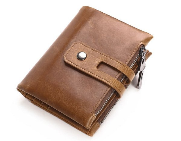 Material: genuine leather +polyester wallet structure: 1 banknote compartment+ 9 card slots + 1 photo window+ 6 hidden holders+2 zipper pock
