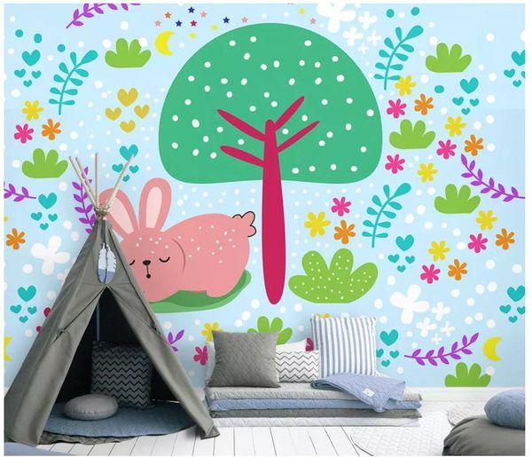 Papel De Parede 3d Custom Photo Mural Wallpaper Tree Under The Bunny Child Room Background Wall Papers For Walls Home Decor Desk Top Wallpaper Desktop