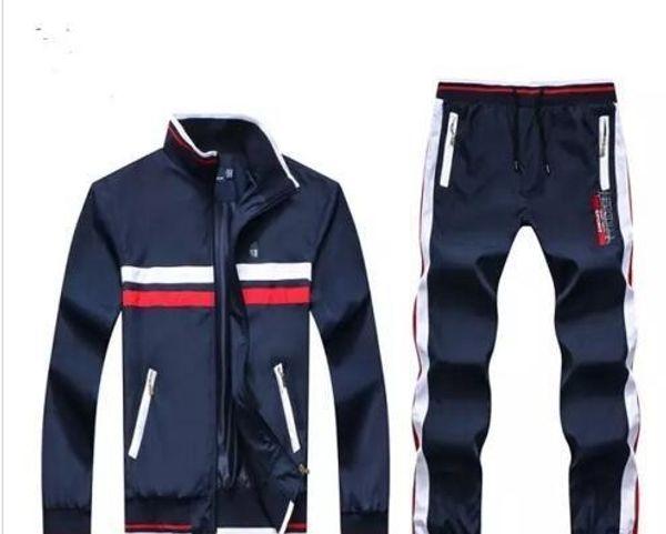 Al por mayor - Men039; s sudaderas con capucha y pantalones de deporte del polo del hombre de la chaqueta del basculador de jogging Conjuntos de cuello alto de Deportes chándales Sweat Suits