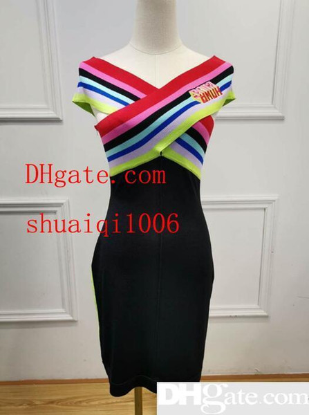 2019 Fashion new hot summer Hign-End wholesale runway Occident V-neck Sleeveless Panelled Print Striped Letter Zipper Sexy Party Dresses
