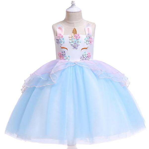 Boynuzlu at elbise crossborder patlayıcı ins çocuk giyim Avrupa ve Amerikan Pengpeng etek Prenses Elbise Kız