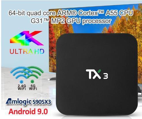 TX3 android caixa de tv com android9.0 S905X3 2GB / 4GB de RAM 16GB / 32GB / 64GB ROM 2.4G + 5G WiFi Melhor do que TX3 X96 Mini