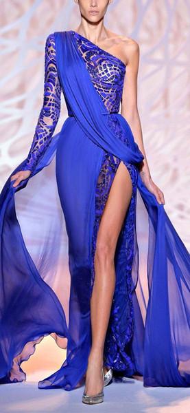 Lindo Zuhair Murad Vestidos de Noite de Um Ombro Manga Longa Azul Royal Alta Fenda Lateral Pageant Partido Vestidos de Baile Formal Desgaste BO9766