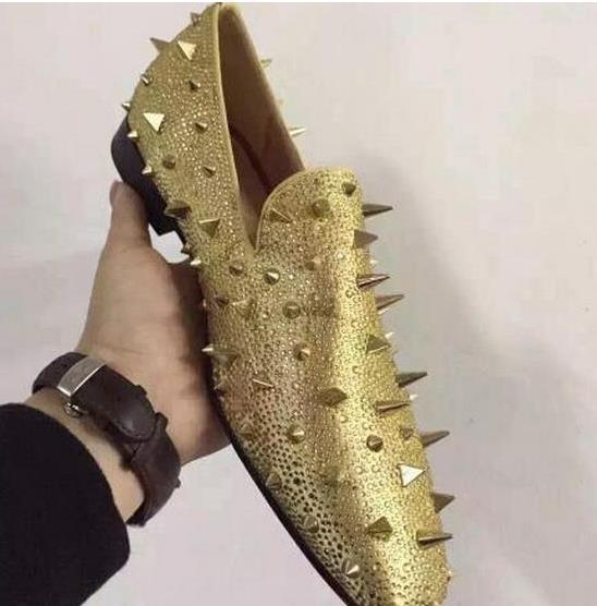 Designer Brand Gold Spikes Tassel Red Bottom Rhinestone Loafers Shoes Women Men Flats Wedding Party Dress Shoes Sliver Suede Shoes