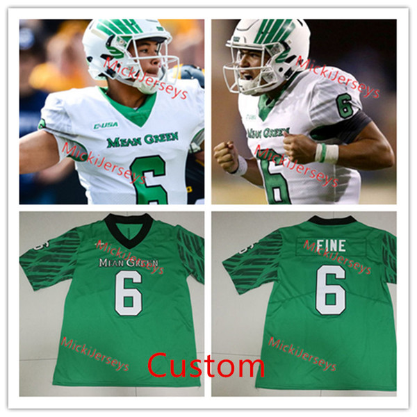 release date 03724 bc41b 2019 Custom NCAA North Texas Mean Green Football Jersey Mason Fine Nic  Smith Nate Hopkins Michael Lawrence Quinn Shanbour North Texas Jersey S 3X  From ...