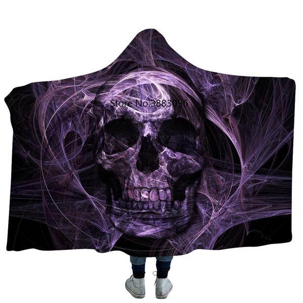 Dark Purple Halloween Skull 3D Printed Plush Hooded Blanket for Adults Kid Warm Wearable Fleece Throw Blankets