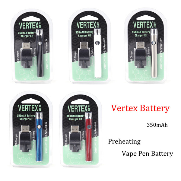 Vertex Vape Pen préchauffer des kits de batterie Vape Battery 350mAh vaporisateur d'huile O Pen 510 fil Batterie Préchauffage des batteries pour 510 fil Vaporize