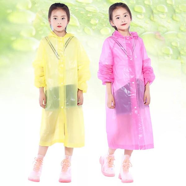 Çocuklar Plastik Yağmur Coat Kapak Su geçirmez Panço Rainwear Kamp geçirimsiz için şeffaf Çocuk Kapşonlu Yağmurluk