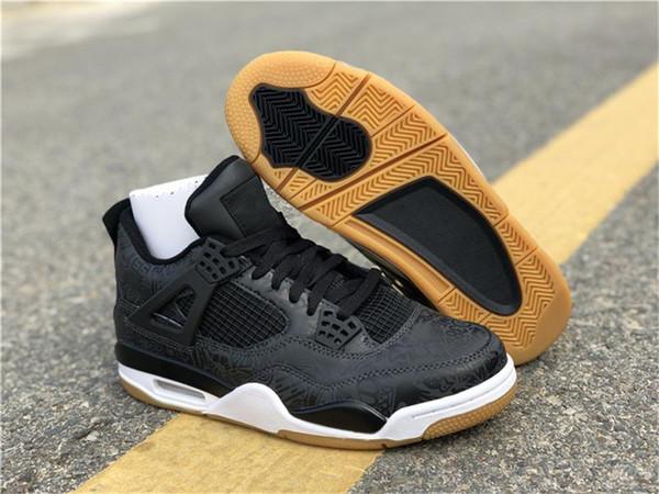 2018 nouvelle version 4 SE Laser Black Gum 4S chaussures de plein air pour hommes brun clair noir 3M CI1184-001 AR4J0rdan Athlétique Baskets Taille 7-13
