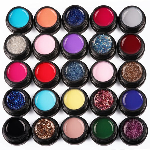 COSCELIA 5ml Black Jar Pure Color Nail Art Gel Gel di vernice Consigli Decorazione fai da te Prezzo di fabbrica Pittura Vernice LEDUV