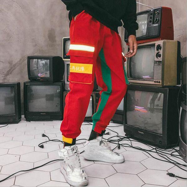 Hip Hop Streetwear Hommes Splice Joggers Pantalon Mode Hommes Casual Pantalon Cargo Pantalon High Street Taille Élastique Sarouel Pant Hommes