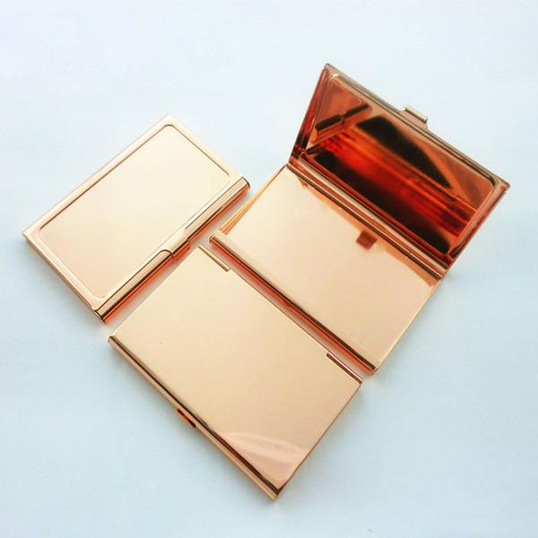 Porta biglietti da visita in acciaio inossidabile con nome in oro rosa Portadocumenti in metallo con cassa in acciaio inossidabile 95x60x9mm ZC0701