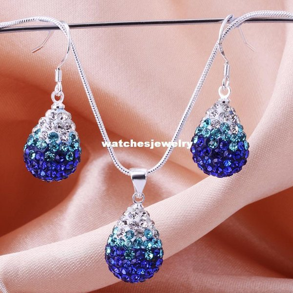 Shambala tear Water Drops blue Crystal Pendant Necklace Earrings Set Rhinestones Ball Bead Jewelry Set