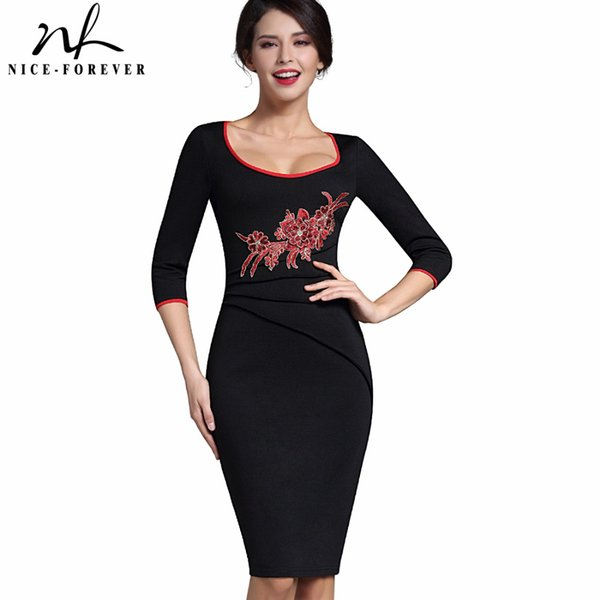 434655c73d Nice-forever Stylish Applique Flower embroidery Casual Work 3 4 Sleeve Wide  O-Neck Bodycon Women Office Pencil Slim Dress. US ...