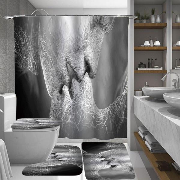 Blanc Noir Amour Baiser Art abstrait Rideaux Salle de bain imperméable rideau de douche anti-dérapant Siège de toilette Tapis de sol Tapis Tapis Set