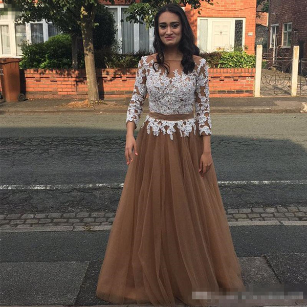 Elegant Dark Champagne Tulle Prom Party Dresses With Long Sleeves White Lace Appliques Plus Size Formal Evening Occasion Wears Cheap