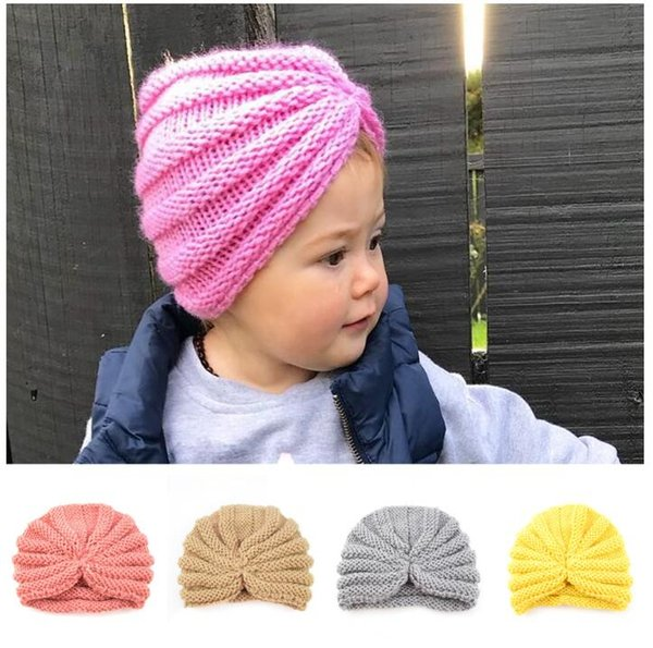toddler infants india crochet hat kids winter warm beanie hats baby knitted headwrap hats caps turban caps for girls
