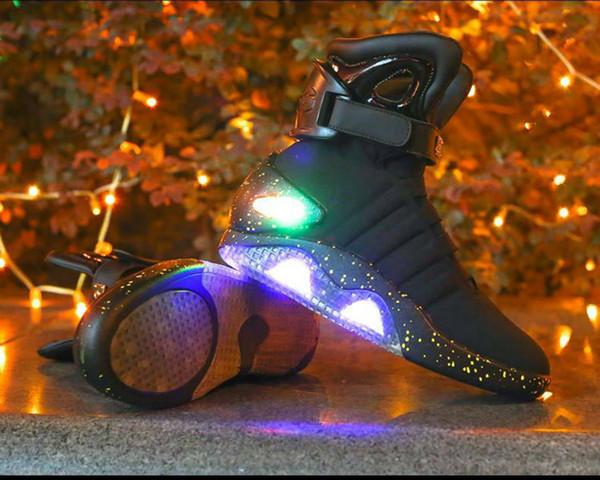 Взрослые USB зарядки светодиодные светящиеся туфли для мужской моды загораются случайные мужчины вернуться в будущее светящиеся кроссовки бесплатная доставка 4asd