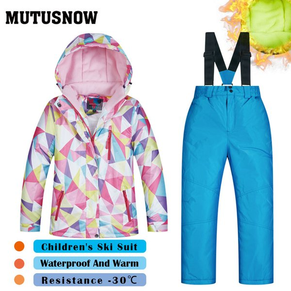 MUTUSNOW Ski Suit Girls Brands High Quality Skiwear Windproof Waterproof Snow Jacket Pants Warm Child Winter Children's Snowboard Suit