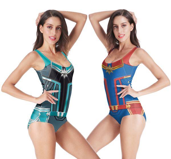 Marvels Swimsuit Carol Danvers Bathing Suit Cosplay Costume One Piece Women Superhero 3D Swimwear