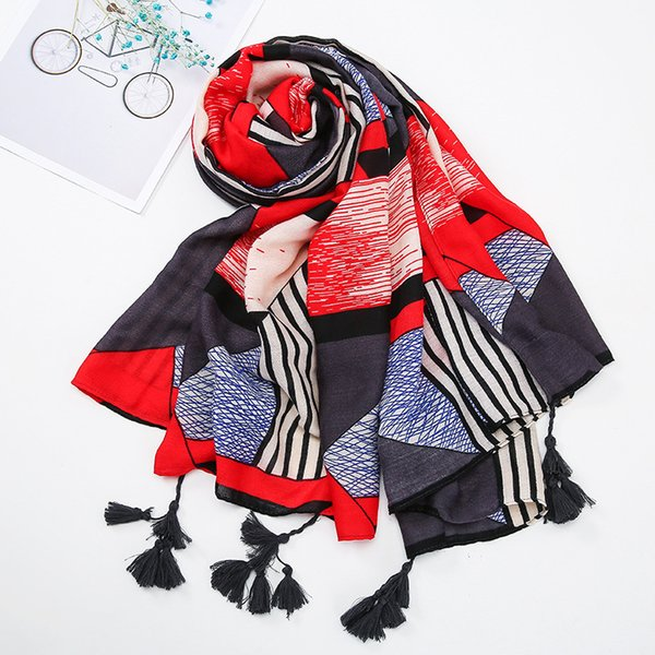 2018 new scarf qianbird grid super large size cotton and linen scarf ethnic wind gauze tourism in lijiang, yunnan