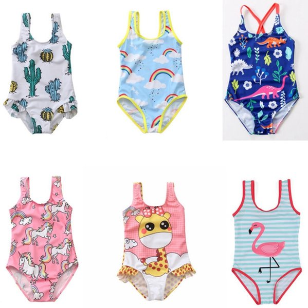 Baby Girl Swimwears Unicorn Girls Bathsuit One Pieces Kids Swimsuits Niños Beach Bikini Summer Kids Clothing Dinosaur Flamingo YW2628