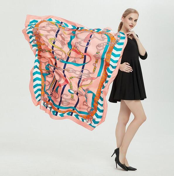 wholesale 2019 spring new Top brand silk scarf women cotton scarves 130*130cm Lady twill silk chain print square scarfs keep warm shawl