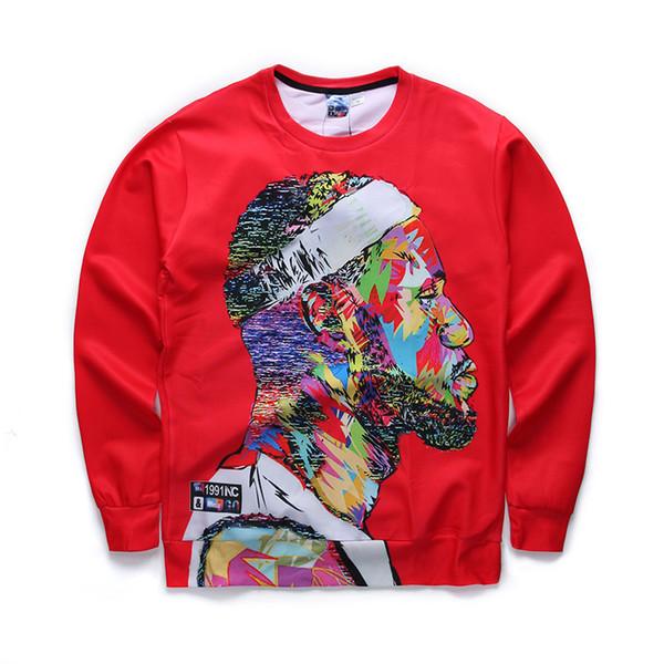 Cabeça dos homens da moda Camisola Camisola Estrela De Basquete Moletom Com Capuz Nova Impressão 3D de Manga Comprida T-shirt Cor Vermelha S-XL