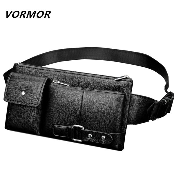 VORMOR Leather Waist Packs Fanny Pack Belt Bag Phone Pouch Bags Travel Waist Pack Male Small Waist Bag Leather Pouch