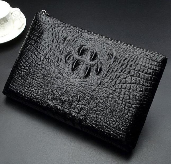 factory sales of brand new leather crocodile bag men and men hand bag high-grade leather men's business lines ostrich clutch