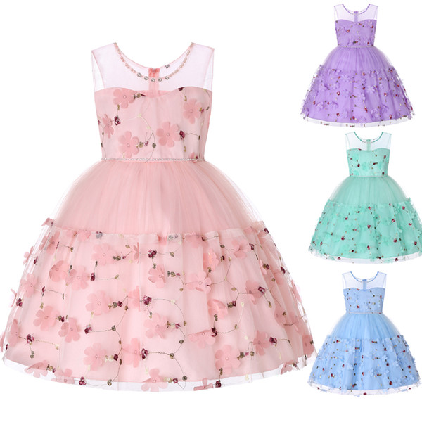 2019 Designer Kids' Flower Girl Dresses Formal 3D Floral Applique Handmade Flowers Jewel Embroidery Princess Birthday Pageant Party Gown