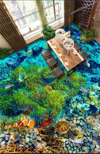 custom size PVC floor mural wallpaper 3d photo waterproof floor sticker living room underwater world coral fish home decor picture wallpaper