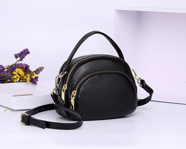 2019 Genuine Leather Head Layer Cowhide Concise Woman Bag Leisure Single Shoulder Messenger Portable Small Bag