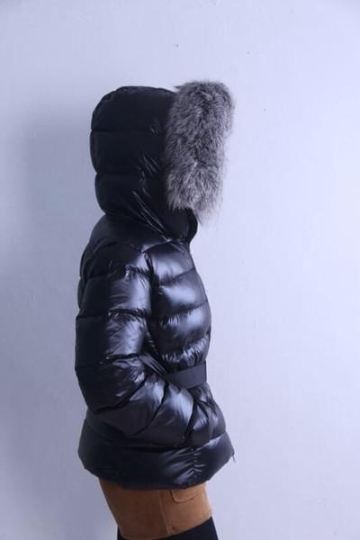 Frauen Winterjacke Damen Real Crystal Fuchs großen Pelzkragen Entendaunen in warmen Mantel Femme mit dem ganzen Tag und Label 17