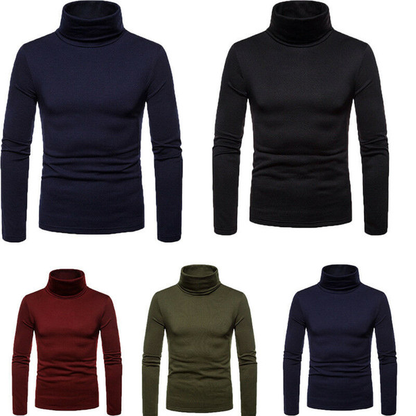 Los hombres de invierno caliente del alto cuello ocasional del suéter puro del suéter del color del puente del suéter Tops Hombre de manga larga de cuello alto de los suéteres de la venta caliente