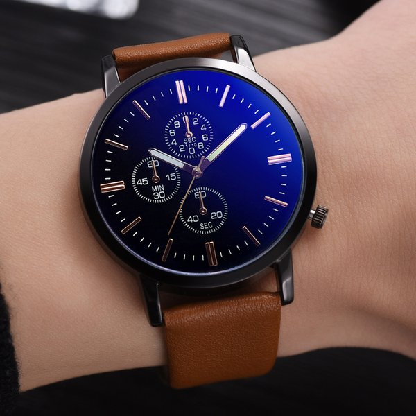 Men Wartches Montre Homme Watches Men's Unobtrusive Business Simple Fashion Fake Three eyes Dial Personality relogio