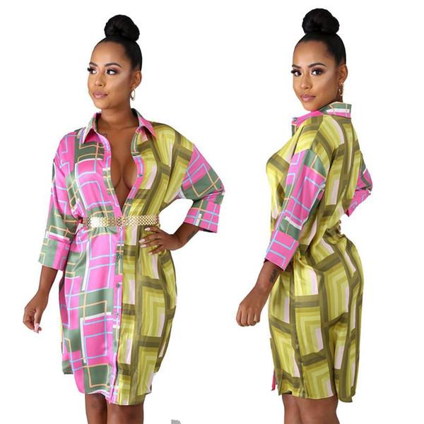 1749b1300e2 Plaid Print Casual T Shirt Dress For Women Turn Down Collar Long Sleeve  Loose Dress Streetwear