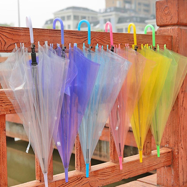 Transparent Clear Umbrellas PVC Automatic Jelly Rain Cover Sun Umbrella Long-Handle Candy Color Umbrella For 8 bone XD19991