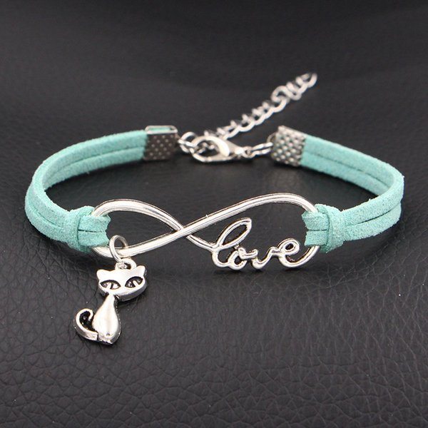 New Arrival 2018 New Simple Light Green Leather Suede Jewelry Original Infinity Love Cute Cat Pendant Multi-layer Winding Bracelet & Bangles