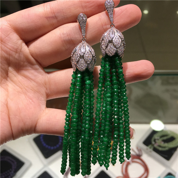 Hot Sell European American Styles Natural Color Faced Stone Micro Inlay Zircon Accessories Earrings Fashion Jewelry J190718