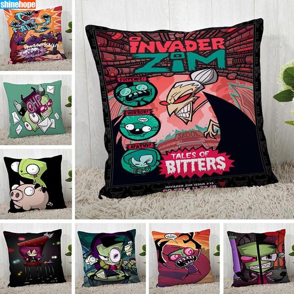 وسادة الحالات المخصصة Invader Zim Square Pillow Pillow عيد الميلاد انغلق غطاء وسادة 40 * 40CM ، 45 * 45CM (جانب واحد)