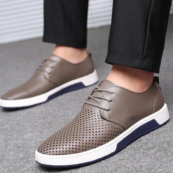 2020 Merkmak Marka Yaz Erkek Deri Ayakkabı Moda Nefes Delikler Beyaz Boş Ayakkabı Flats Büyük Boy 37-48 Sürücü